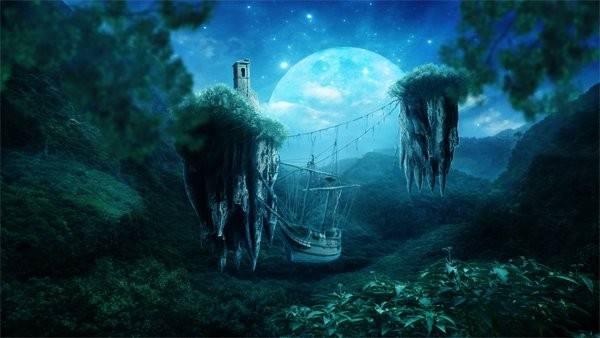 01 - Создаем красивый лунный коллаж.