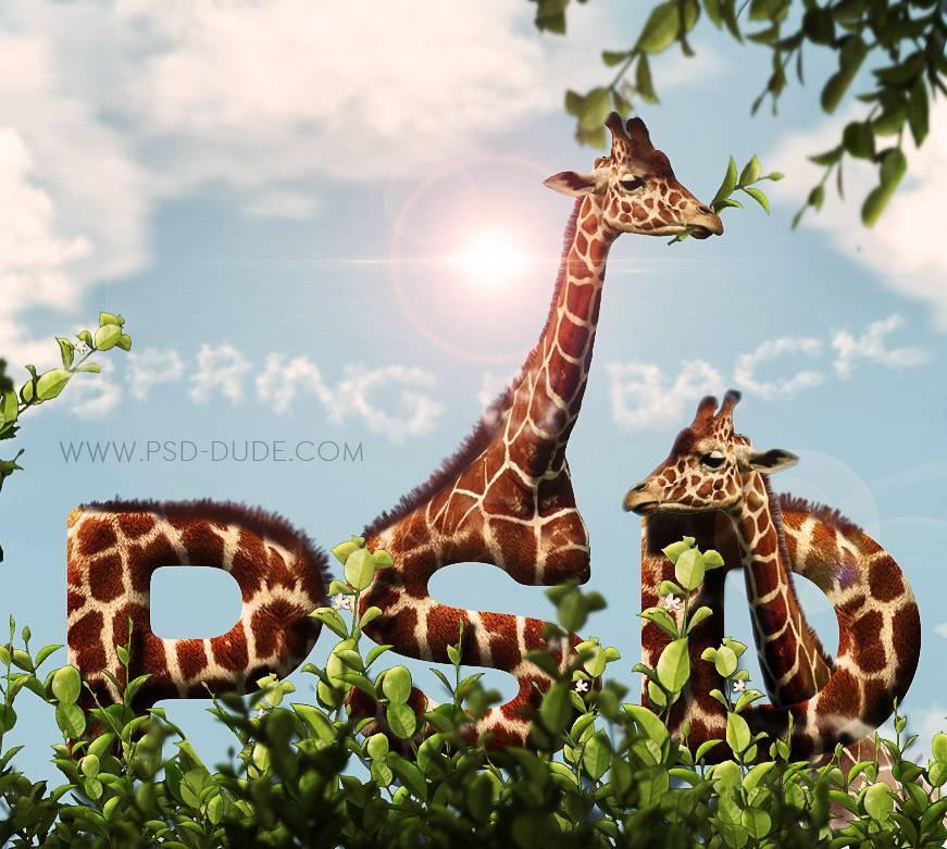 01 - Создадим текстовой эффект в виде жирафа